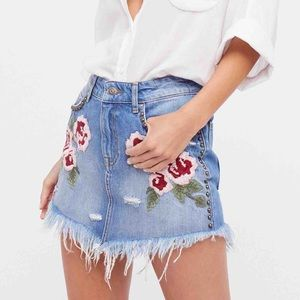 Free People Wild Rose Embroidered Mini Jean Skirt